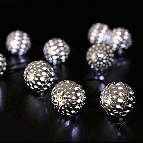 LUCKLED Globe Solar String Lights, 11ft 10LED Fairy Moroccan Ball Lights Decorative Lighting for Indoor/Outdoor, Home, Garden, Patio, Lawn, Party and Holiday Decorations(Daylight White)