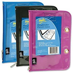 Helix Ringbinder Pencil Case Nylon PVC 225x150mm Assorted