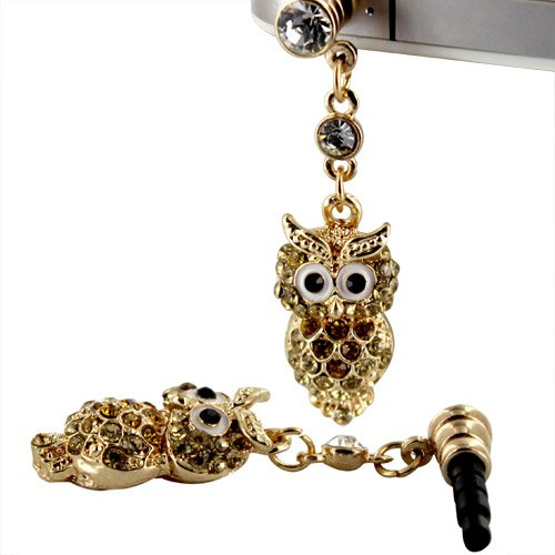 Skque® Sumsung Galaxy S5 3.5Mm Bling Rhinestone Golden Lovable Owl Earphone Anti Dust Jack Plug, Yellow