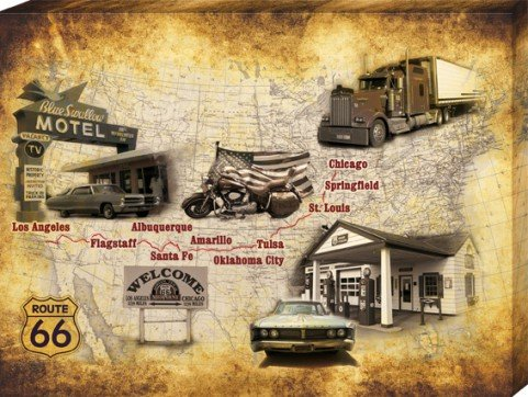 Route 66 Stretched Canvas Print - Get Your Kicks On Route 66, Vintage Style Map (32 X 24 Inches) front-905520