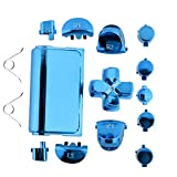 Jadebones Chrome Plating Replacement Repair Buttons with 2 Springs Set for PS4 Controller DualShock 4 (Blue) (Color: Blue)