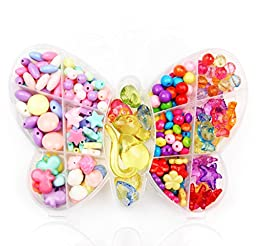 ALL in ONE Extravaganza Bead Box: Mix Color and Shape Beads for Children Necklace and Bracelet Crafts Early Childhood Educational Toys