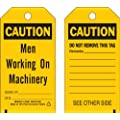 "Brady  86544 5 3/4"" Height x 3"" Width, Economy Polyester (B-851), Black on Yellow Accident Prevention Tags (10 Tags)"
