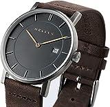 Meller Nag Unisexe Terre minimaliste montre avec affichage analogique et bracelet en cuir gris