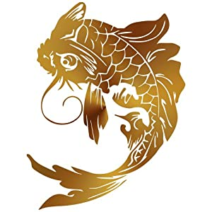Tribal chinese koi fish decal sticker for Koi fish wall stickers