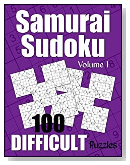 Samurai Sudoku Difficult Puzzle Book - Volume 1