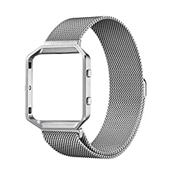 UMTELE Accessories Band Small, Rugged Metal Frame Housing with Magnet Lock Milanese Loop Stainless Steel Bracelet Strap Band for Fitbit Blaze Smart Fitness Watch (5.1\'\'-7.9\'\') - Silver