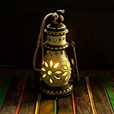 ExclusiveLane 8 Inch Terracotta Lantern Handpainted Cream