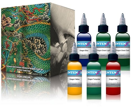 Intenze japanese dragon color kit ink set element tattoo for Intenze tattoo ink sets