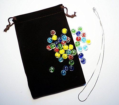 光るネックレス とんぼ玉 大きめビーズ 5色セット お子さんと一緒にオリジナルネックレスを作ろう!DIY 専用巾着付き♪自由工作 自由研究