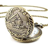 YESURPRISE Unisex Antique Case Vintage Brass Rib Chain Quartz Pocket Watch Train