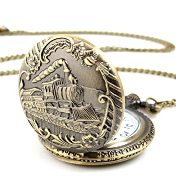 ALIENWOLF Unisex Antique Case Vintage Brass Rib Chain Quartz Pocket Watch