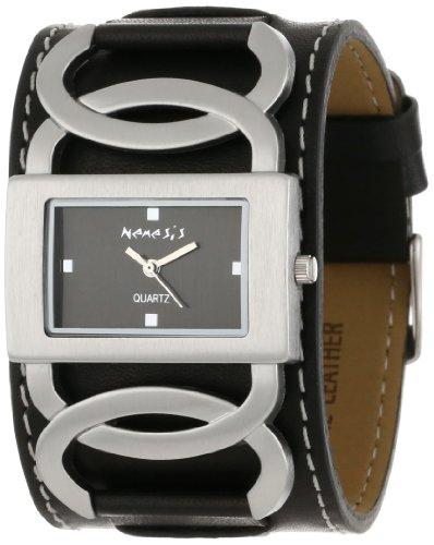 Las mujeres némesis NS104K negro cruz del arco de cuero de la venda de reloj de la colección