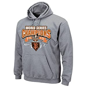 MLB Men's San Francisco Giants World Series Champions Locker Room Hooded Fleece Pullover,Steel Heather,X-Large