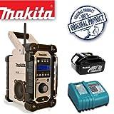 MAKITA BMR104W DAB Job Site Radio - White Plus BL1830 18.0V 3.0Ah Lithium-ion Battery Plus DC18RA 14.4-18V Lithium-ion Battery Charger 240V