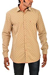 Indipulse Men's Casual Shirt (IF11600622B, Beige, L)