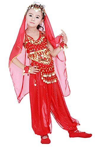 AvaCostume Girls Bloomers Sequined Belly Dance Costume Set
