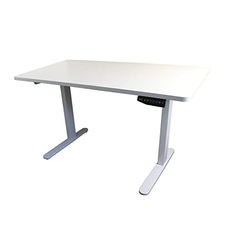 Thingy Club E2B elettrico in piedi da tavolo, altezza regolabile, solo, in acciaio solido supporto da scrivania con memoria automatica intelligente tastiera White Oak Effect Table Top + White Frame