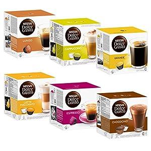 Find Nescafé Dolce Gusto Kapseln Basic-Set: Lungo, Cappucino, Latte Macchiato, Espresso, Chococino, Crema Grande, 6 x 16 Capsules from Nestlé