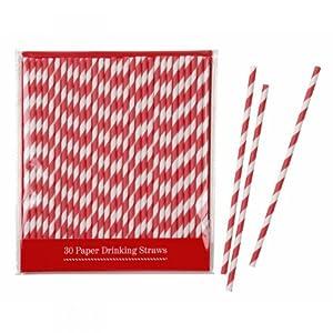 Red & White Stripey Paper Straws x 30 Wedding / Party