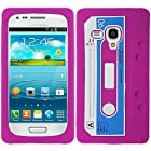 Pink Cassette Tape Silicon Soft Rubber Skin Case Cover For Samsung Galaxy i8190 S 3 S3 III Mini with Free Pouch