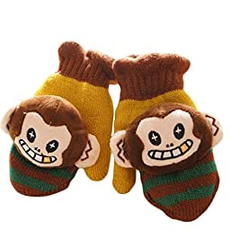Smartlife Baby Girls Boys Super Warm Wool Yarn Knit Mittens Gloves for Kid 2-5 years (Monkey)