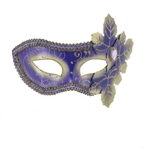 Forum Mardi Gras Costume Masquerade Venetian Half Mask With Leaves and Glitter, Purple/Gold, One Size
