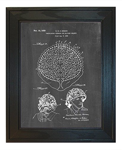 "Camouflaging Covering For Military Helmets Patent Art Chalkboard Print in a Solid Pine Wood Frame (24"" x 36"")"