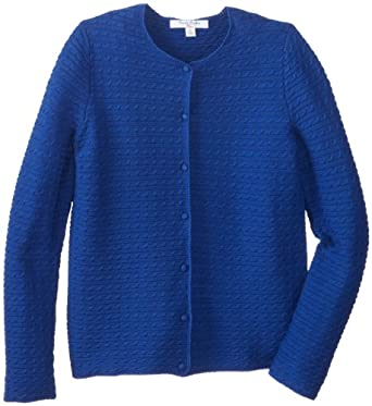 Brooks Brothers Big Girls' Long Sleeve Mini Cable Cardigan, Sodalite Blue, X-Large
