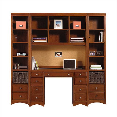 Young America by Stanley GenAmerica Classic Cherry Pedestal Desk with Optional Hutch / Bookcases Gen