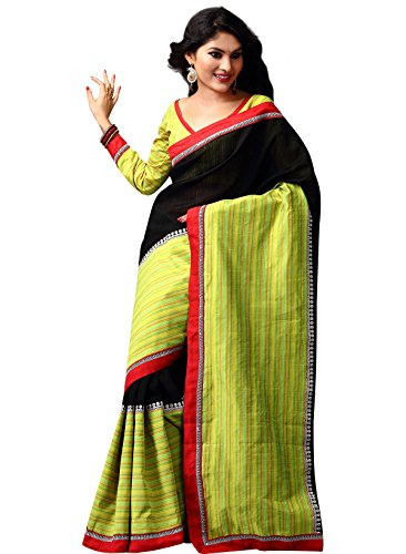 IndusDiva Black and Leaf Green Raw Silk Saree (multicolor)