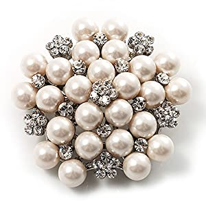 Snow White Synthetic Pearl Corsage Brooch: Brooches And Pins: Jewelry