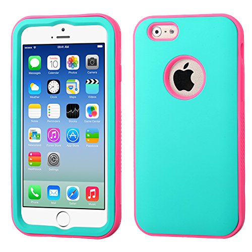 Phonetatoos For Iphone 6 (4.7-Inch) Rubberized Teal Green/Lightning Electric Pink Verge Hybrid Protector Cover front-807429