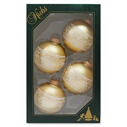 4er-Set-Weihnachtskugeln-Christbaumkugeln-Kugeln-gold-mit-weier-Jacquard-Band-Deko-mundgeblasener-Baumschmuck-aus-Glas--ca-7-cm
