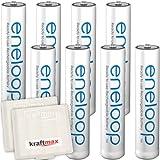 Kraftmax 8er-Pack Panasonic Eneloop AAA / Micro Akkus - Neueste Generation - Hochleistungs Akku Batterien in Kraftmax Akkuboxen V5, 8er Pack