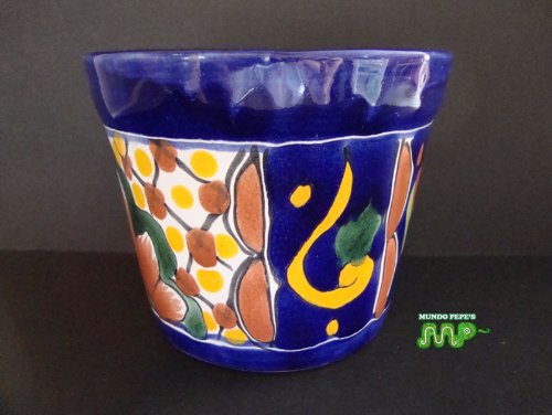 "MEXICAN TALAVERA Ceramic Flower Planter Pot 5"" [Vibrant Hand Painted Colors]"
