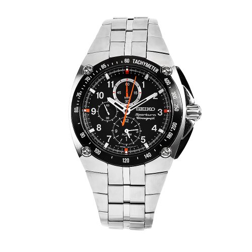 Seiko Men'S Snad23 Sportura Stainless Steel Black Chronograph Dial Watch