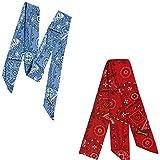 MiraCool Cooling Bandanas. Pack of 4 Bandanas 2 Cowboy Red, 2 Cowboy Blue - Reusable