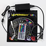 SUPERNIGHT (TM) 5050 RGB Waterproof Flexible LED Strip For Festival Decoration Christmas Lighting DIY Lighting Decoration 60Leds/M 300LEDs/roll Black PCB+ Power Adapter + IR Remote Controller