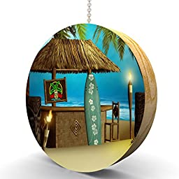 Tiki Beach Surfer Bar Hardwood Oak Fan / Light Pull
