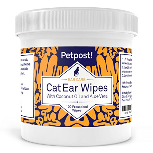 Petpost | Cat Ear Cleaner Wipes - 100 Ultra Soft Cotton Pads in Coconut Oil Solution - Treatment for Cat Ear Mites & Cat Ear Infections (Cat Ear Cleaner compare prices)