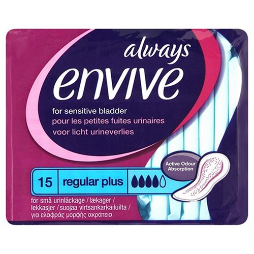 Always Envive Regular Plus Incontinence Pads for Sensitive Bladders x 15