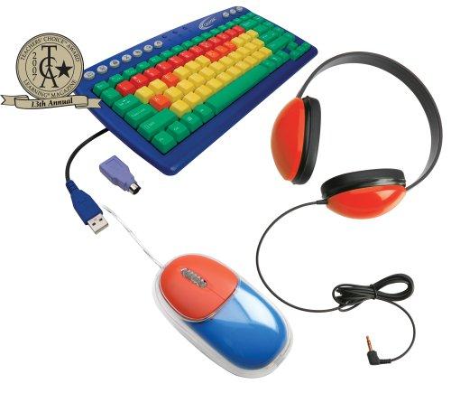 Califone Kidspack Kids Computer Peripheral Package, Includes Kids Keyboard (Kb1), Headphone (2800-Rd) And Mouse (Km100), Color-Coded Keys Help Identify And Locate Function (Green), Consonants (Yellow), Vowels (Orange) & Number (Red) Keys, Adjustable Headb