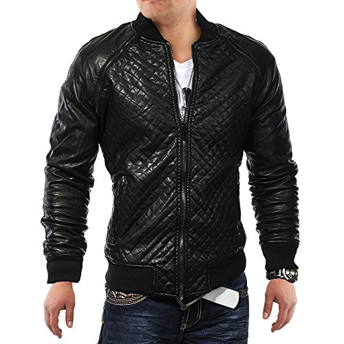 Mens Leather Jacket Phantomas rivestito in pelle ID1127, Größe Jacke:L