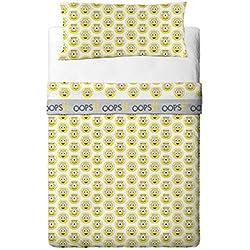 MINIONS EYE Set parure di lenzuola Biancheria per letto 90 cms completo 3 pezzi (Lenzuolo Sotto + Lenzuolo + Federa)