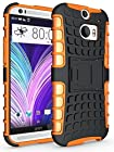 myLife Shadow Black and Carrot Orange {Rugged Design} Two Piece Neo Hybrid (Shockproof Kickstand) Case for the All-New HTC One M8 Android Smartphone - AKA, 2nd Gen HTC One (External Hard Fit Armor With Built in Kick Stand + Internal Soft Silicone Rubberized Flex Gel Full Body Bumper Guard)