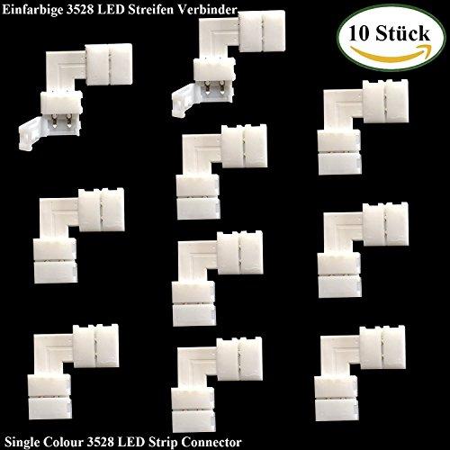 LitaElek-Raccordo rapido a L per 8mm 2poli LED raccordo angolare LED Strip Connector connettore per SMD 3528Strisce LED Luce Strisce, LED monocolore Raccordo angolare (10pcs)