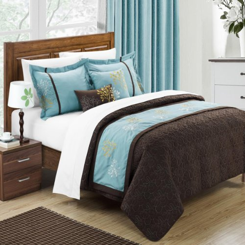 Aqua Turquoise Blue And Brown Bedding