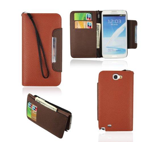 For Samsung Galaxy note II 2 N7100 magnet Flip wallet sofe streak pu Leather case cover-- Lt Orange +chocolate