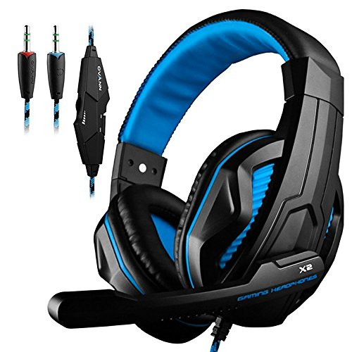 GranVela 3.5mm Wired Stereo Gaming Headset with Mic, Bass Noise Isolation Gaming Headphones with Volume Control and LED Light for PS4 PC Laptop Computer and so on